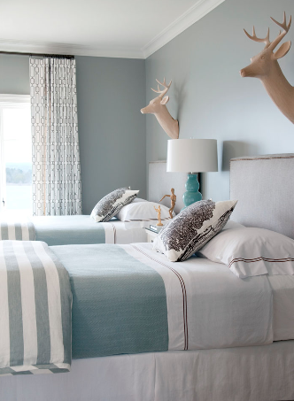 grey blue bedroom
